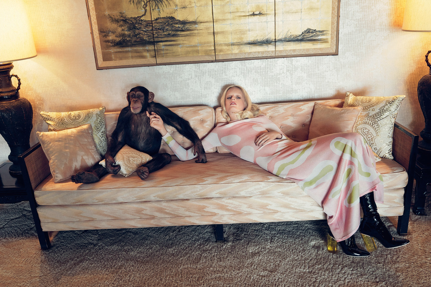 платье из шелкового жаккарда и сапоги, Dior