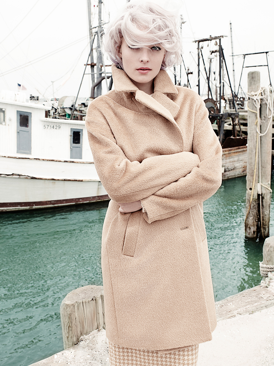 пальто, BASLER; юбка-карандаш, MAX MARA