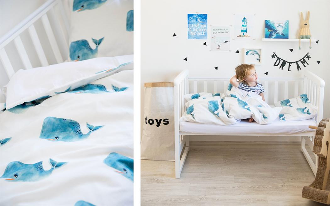 постельное белье для детской кроватки «Киты»
