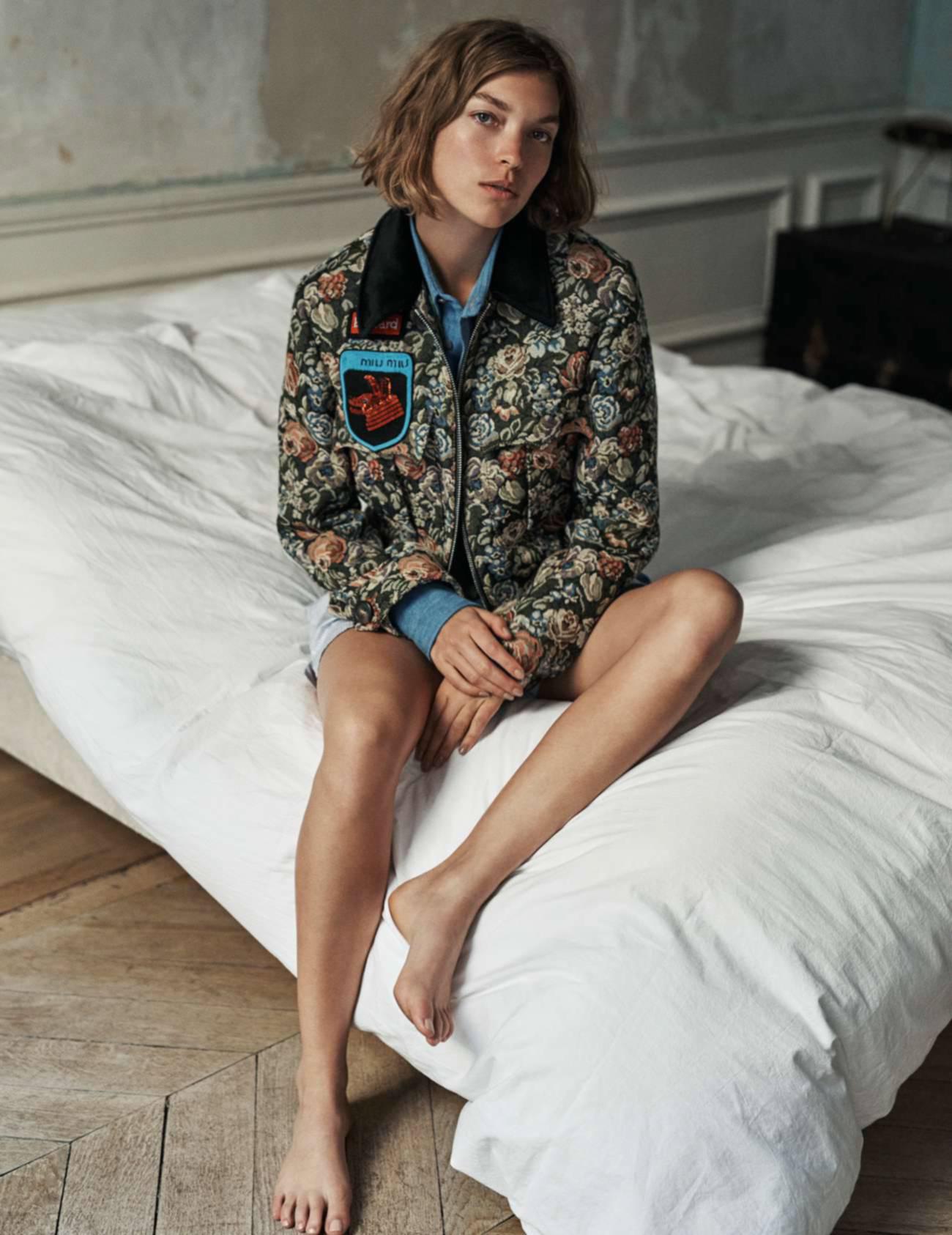 куртка из гобелена, джинсовая рубашка и боксеры, Miu Miu