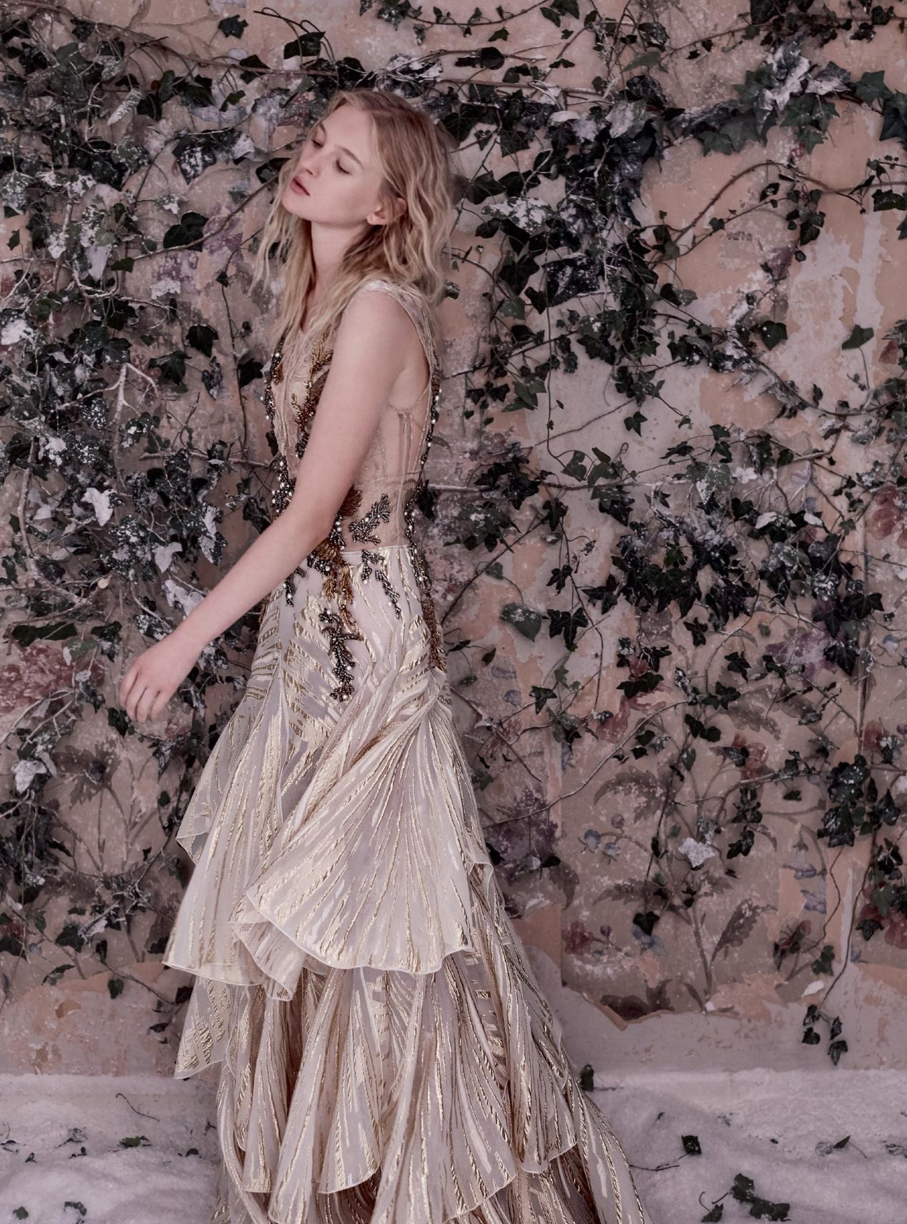 платье из жаккарда, крепдешина и кружева, Alberta Ferretti Limited Edition