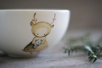 """фарфоровая миска """"Oh, deer!"""", автор принта Вера Макарова"""