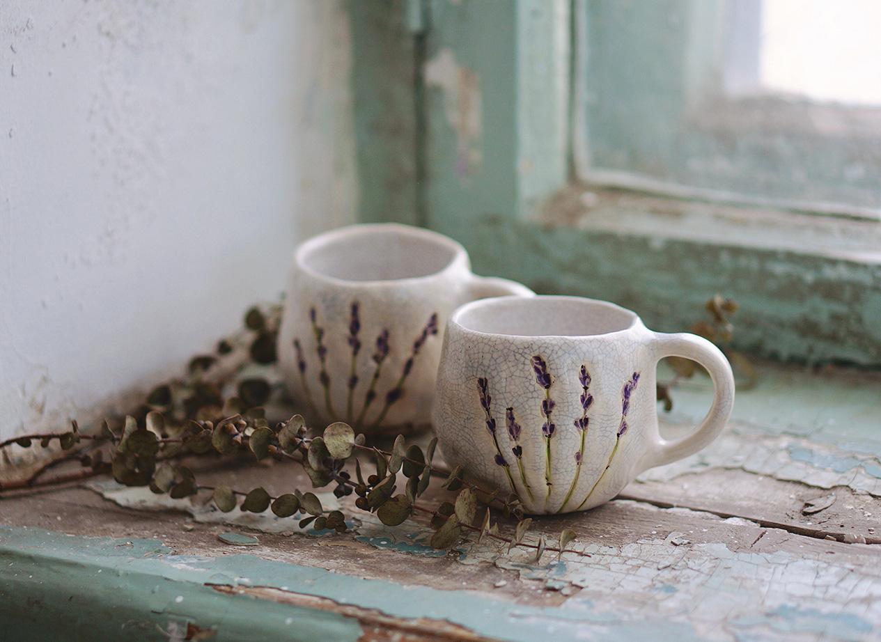 """фарфоровые чашки """"Лаванда"""" с глазурью"""