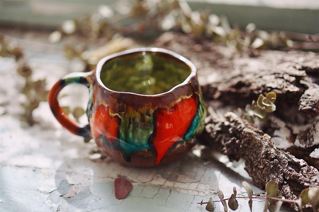 "фарфоровая чашка ""Махаон"", покрытая глазурью"