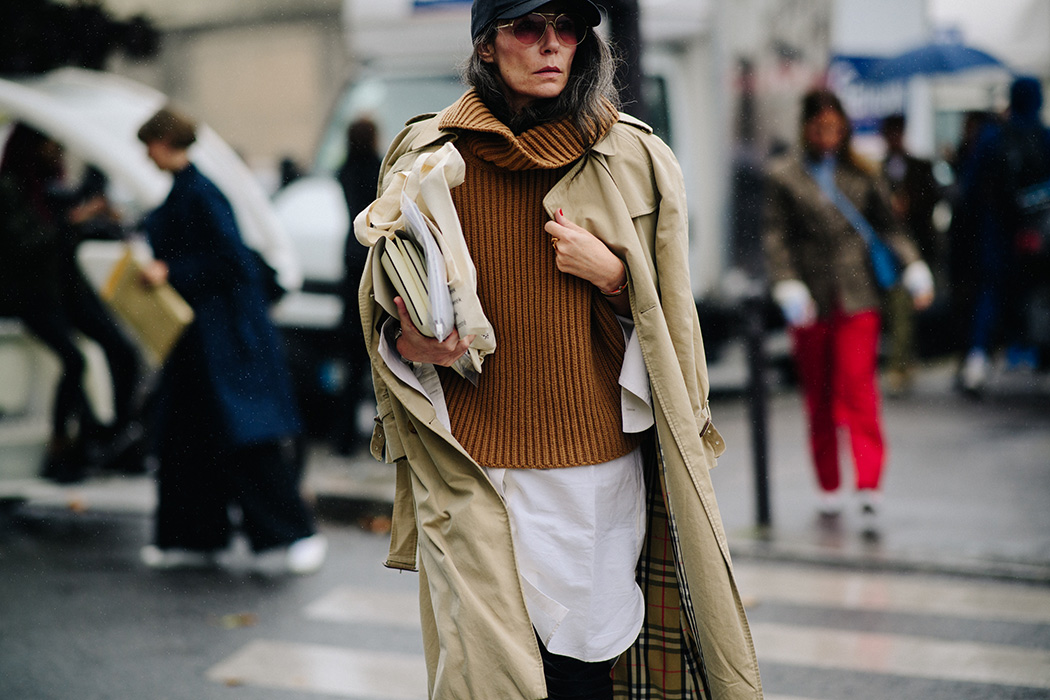 Editor wearing Burberry trench coat