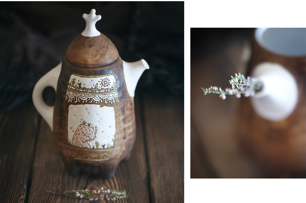 """пятиногий чайник """"Хранитель и дудочка"""" из коллекции """"Хранитель Леса"""", автор Вера Макарова"""