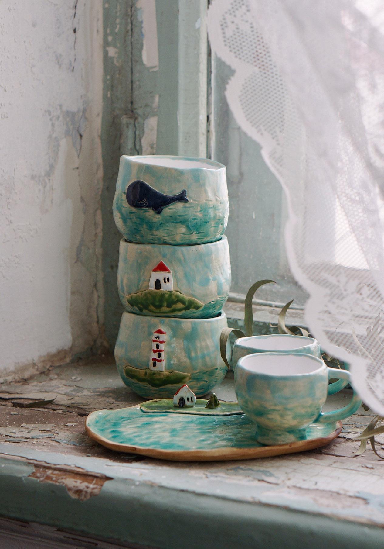 """фарфоровый сервиз """"Про море"""": пиалы для каши, чашки для чая и кофе, тарелка"""