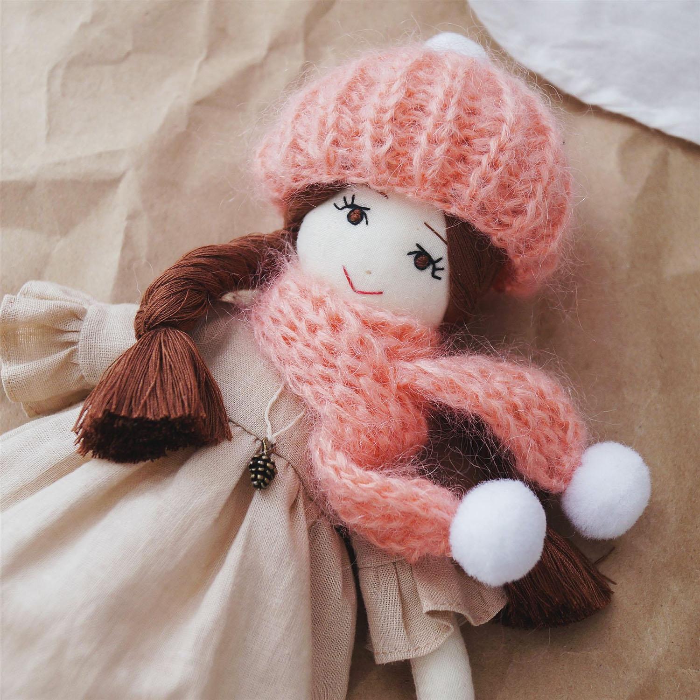 Куколка с открытыми глазками, хлопок, наполнитель холлофайбер, мохер, лен, 25 см
