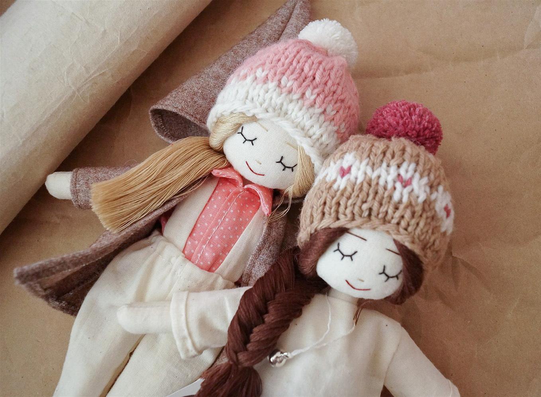 Куколки-подружки, хлопок, наполнитель холлофайбер, мериносовая пряжа, 25 см
