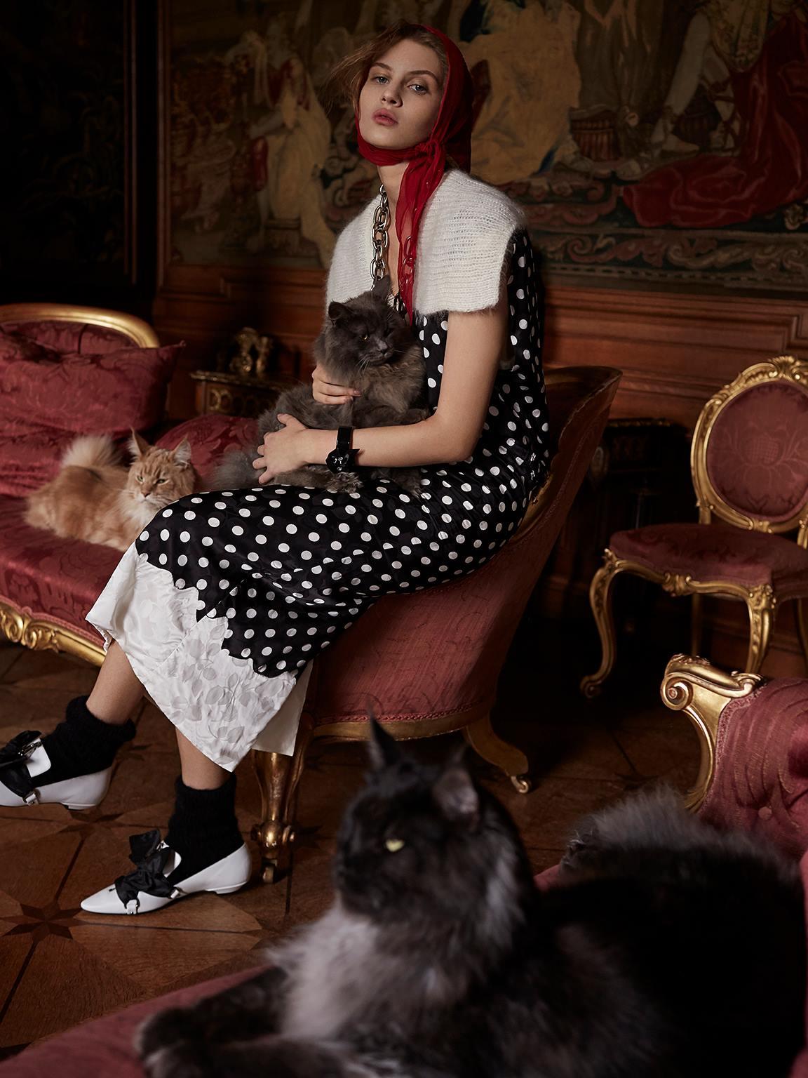 платье из хлопка, кардиган из мохера, шарф из шифона, носки, ожерелье из латуни, браслет, балетки, Miu Miu